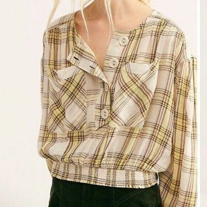 Free People It's The Good Life Plaid Top NWOT